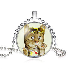 Silver Plated Small Cat On A Diet Glass Cabochon Necklace For Women Wholesale Statement Long Necklace 2016 New Arrival 62014409(China)