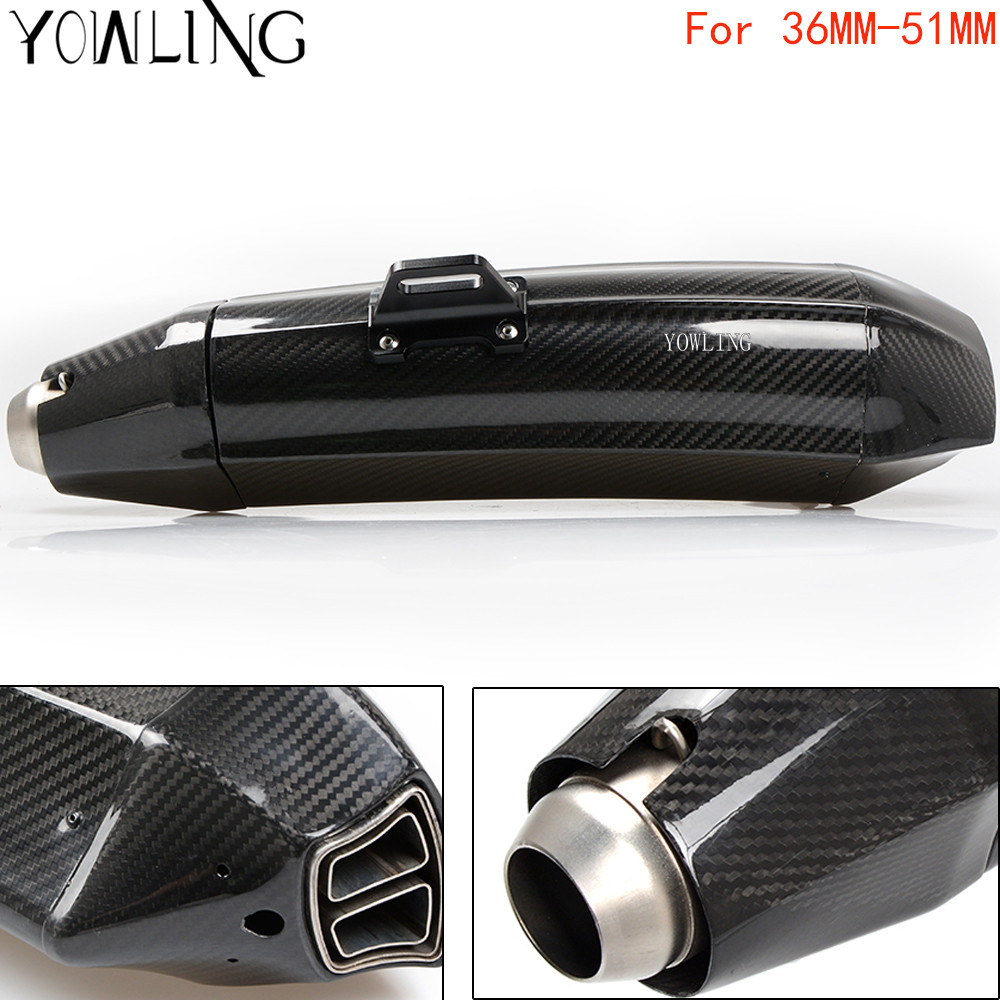 51mm Inlet Motorcycle Exhaust Modified Muffler Pipe Real Full Carbon Fiber Pipe For ER-6N Z800 MT 09 Sport Racing Motorbike