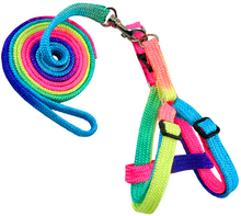 1pcs Rainbow Dog Cat Bell Outdoor Comfortable Pet Collar Traction Rope Small Dogs Puppies Teddy Pet Harness Rope Chest Strap(China)