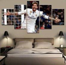 5 Panel Sergio Ramos Real Madrid Canvas Printed Painting For Living Picture Wall Art HD Decor Modern Artworks Football Poster