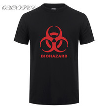 BIOHAZARD Logo T Shirt Men Summer Style Resident Evil T Shirt Short Sleeve Cotton T-shirt Men Tops Free Shipping OT-448