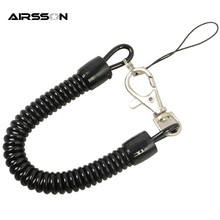Tactical Retractable Plastic Spring Elastic Rope Security Gear Tool For Airsoft Outdoor Hiking Camping Anti-lost Phone Keychain(China)