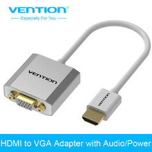 Vention Metal HDMI to VGA Adapter Converter Cable 1080p with Audio & Micro USB port power Supported for Laptop HDTV Projector(China)