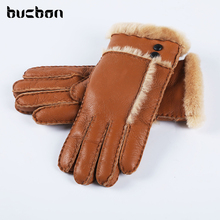 Hot Sale Winter Women Gloves Wool Genuine Leather Sheepskin Gloves Solid Sheep Fur Mittens Elegant Warm Female Gloves AGB483(China)