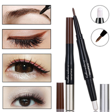 Double-ended Eyes Cosmetic Makeup Waterproof Brown Eyeliner Pencil With Long Lasting Pigment White Eyeshadow Glitter Pen(China)