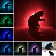 Novetly LED Cute Licking Hair Cat 7 Color Change Shadow Projection Kids Bedroom Sleeping Decor Corridor Aisle Wall Lamps Gifts(China)