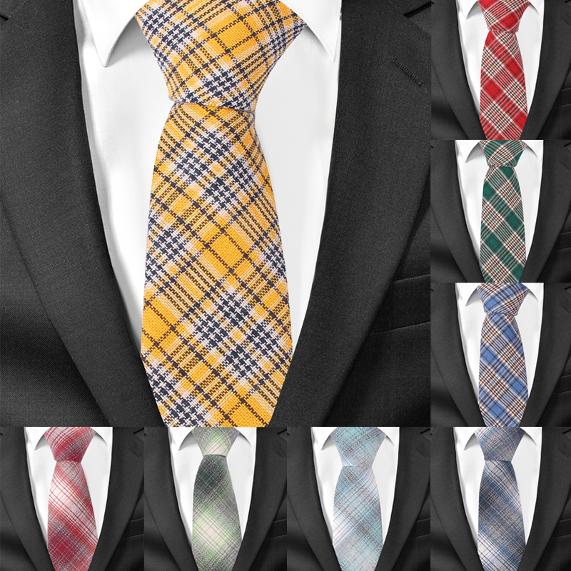 A-1025 Mans Tie Colourful Plaids And Checks Necktie Grey Blue Yellow Tie