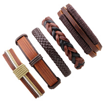 1Set/5pcs Multilayer Leather Bracelet Men Jewelry Vintage Punk Bracelet Punk Wrap Bracelets For Women Casual Men Jewelry(China)