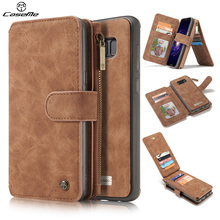 Luxury Leather For Samsung Galaxy S8 Case Cover Flip Wallet Shockproof Phone Cases Accessories Brown for Samsung S8 Plus Cover(China)