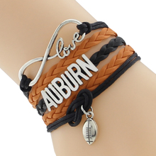Infinity Love Auburn State Football Sports Team Bracelet blue orange Customize Sport friendship Bracelets