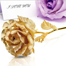 24CM Handcrafted Handmade 24k Gold Foil Rose Flower Dipped Long Stem Lovers wedding Gift Random color