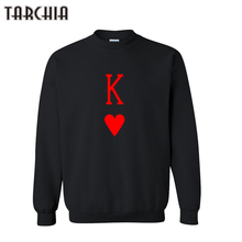 TARCHIA European Style Hip Hop Men Brand Top POKER K Printed Streetwear Fleece Fashion Hoodies Sweatshirt Harajuku