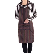 Adult Stripe Bib Apron with Pockets Chef Cook Tool