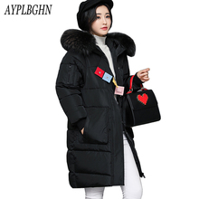 New Long Parkas For Women Winter Slim Wadded Cheap Coats Plus Size Fur Hooded Jackets Solid Color Zipper Outwear casaco feminino(China)