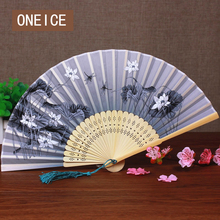ONEICE Free Shipping Small Silk Fan Chinese style women's Antique folding Fans handcrafted gift Folding 38CM(China)