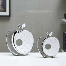 High quality Modern ceramic daimond apple fashion miniature Figurine craft miniatures feng shui home decoration accessories(China)