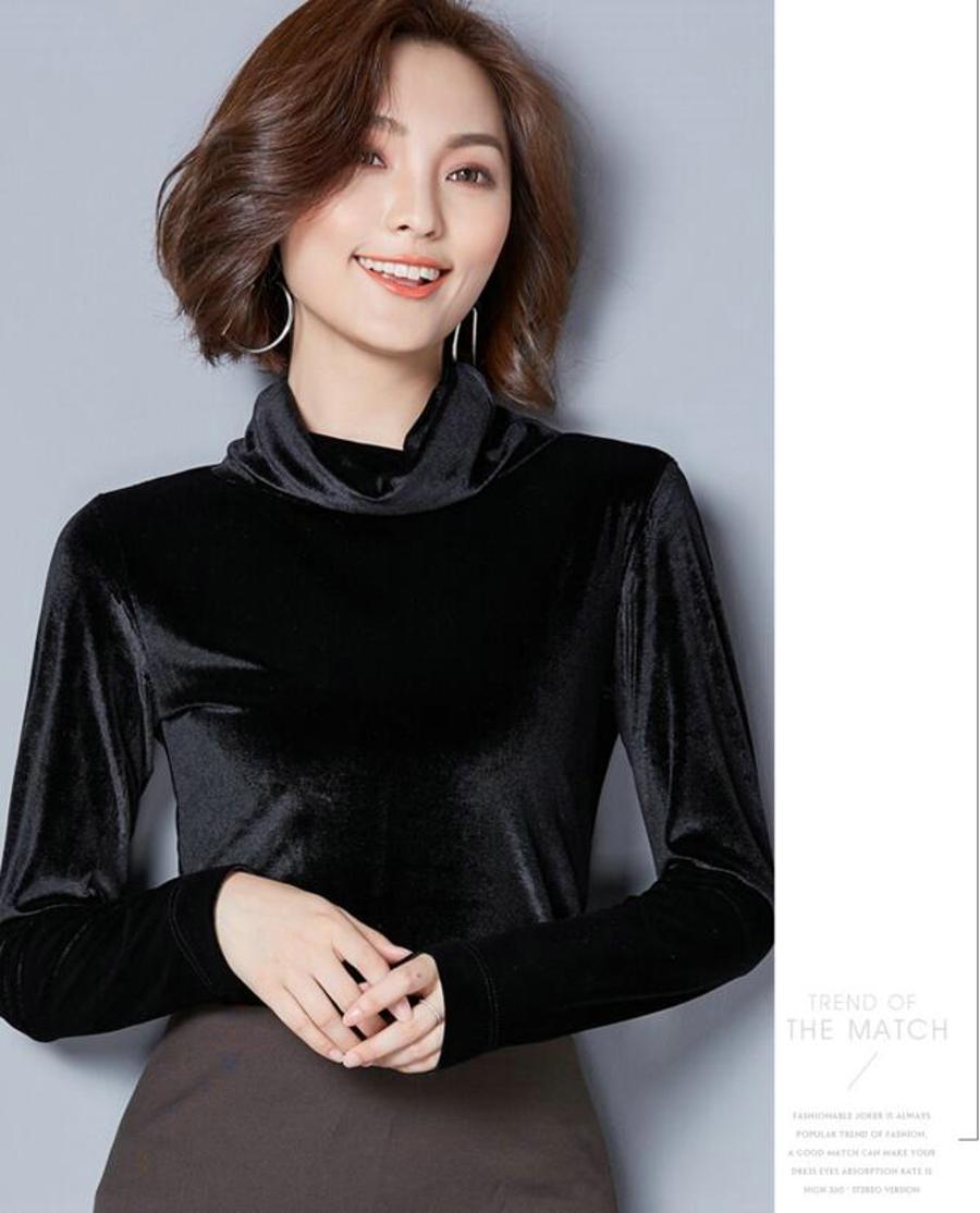 WANXIANGYUAN Women Long Sleeve Blouse 2017 Autumn Fashion Turtleneck Shirt Women Ladies Velvet Warm Blouses Shirts for Women 06