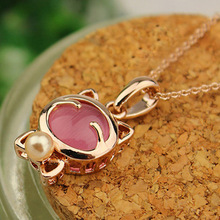 Lucky Cat necklace For women Cat's Eye Opal Stone Hello Kitty Necklace pendants Clavicle chain wholesale sweater chain wholesale(China)