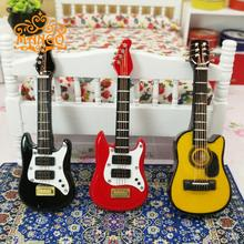 Free Shipping 1/12 Dollhouse Miniature Music Instrument  Electric Guitar Art props gift