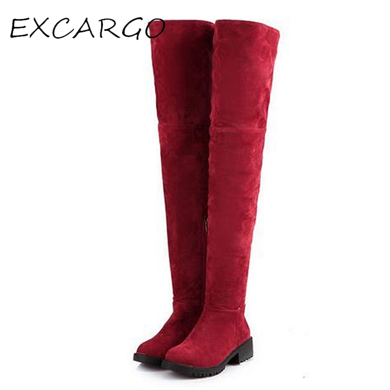 Sexy Over-the-knee High Women Snow Boots 2017 New Winter Fashion Womens Thigh High Boots Women 4.5cm Heel Shoes Plus Size 43<br>