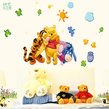 Animal Cartoon Pooh tree Vinyl Wall stickers for kids rooms Home decor DIY Child Wallpaper Art Decals 3D Design House Decoration(China)