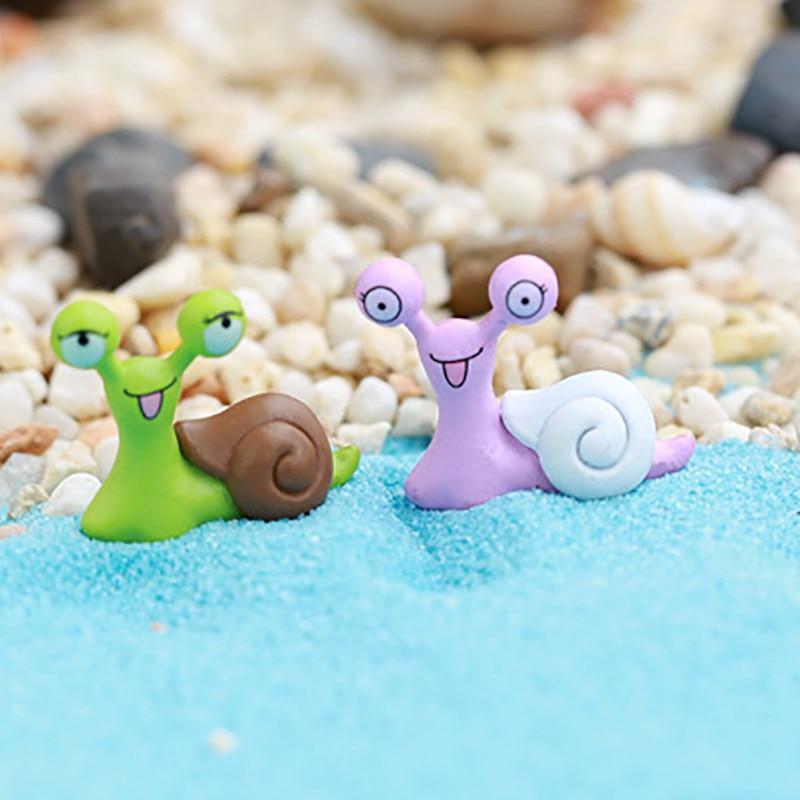 5Pc Snail Mix-Color Terrarium Miniature Dollhouse Fairy Garden Accessories DIY
