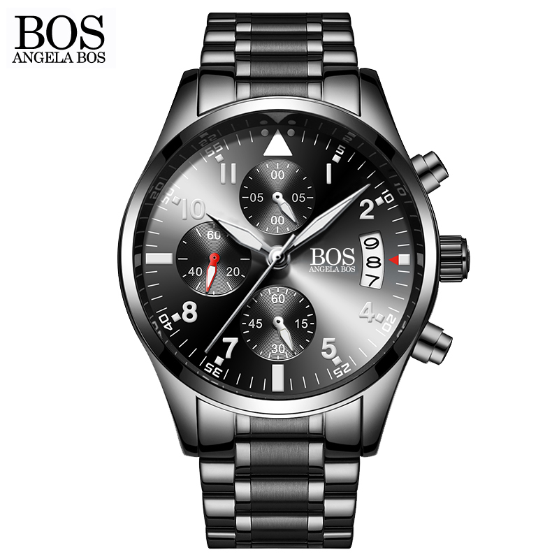 ANGELA BOS Chronograph Timing Army Military Watch Mens Cool Black Luminous Calendar Date Stainless Steel Men Watch Luxury Brand<br>