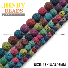 JHNBY Colourful Lava bead Natural Stone Volcanic rock Top quality Round Loose beads ball 6/8/10/12MM Jewelry bracelet making DIY