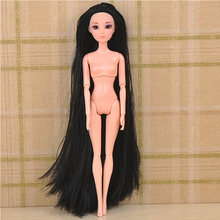 10 Pcs/Lot Doll Head Soft Doll Accessories 3D Eyes Antiquity Hairstyle DIY Doll 1/6 Head With Wig Extra Long Hair Toys For Girl