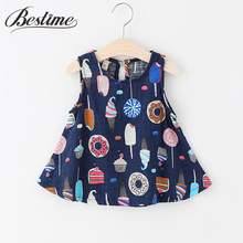 Bestime Infant Girls Dress 2017 Summer Fashion Ice cream Pattern Dresses Sleeveless Cotton & Linen Kids Sundress Baby Clothes