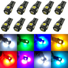 Buy 500xT10 Canbus error 5SMD DC 12V Car Light 5050 W5W 194 automotive singnal fog bulbs White Red Blue Yellow Green nissan for $135.99 in AliExpress store