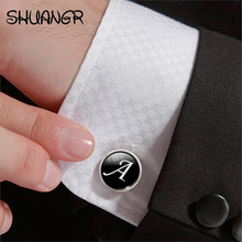 Buy SHUNAGR 1 Pair Business White Black Letters Men Suits Shirt Cuff Links Silver Plated Glass Cabochon Wedding Cuff Accessories for $1.28 in AliExpress store