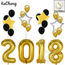 25pcs Happy New Year Christmas 2018 Cartoon 40inch Number Helium Foil Balloons 3.2g Latex balloon 18inch Gold Black Star Decor(China)