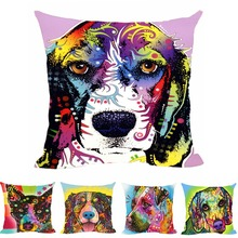 Decorative Pillows Covers Lovely Beagle Cusion Cover Colorful Art Pet Dog Customize Gift Animals Canvas Sofa Throw pillows