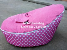 COVER ONLY, NO FILLINGS - pink polka dots waterproof 600D polyester Baby infant Bean Bag Snuggle seat bed 2 upper layer No beans(China)