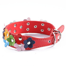 Fashion Leather Puppy Pet Dog Collar Cat Neck Strap Necklace with Studded Sweet Flower 5Colors 4 Sizes