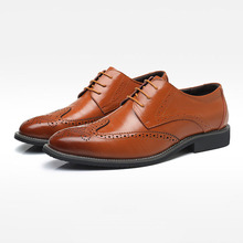 Buy Brand Men Oxfords Shoes British Style Carved Genuine Leather Shoe Brown Brogue Shoes Lace-Up Bullock Business Men's Flats for $127.20 in AliExpress store