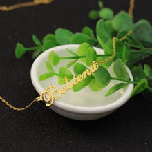 925 Solid Silver Rollo Chain Personalized Name Gold Color Necklace Nameplate Jewelry Wholesale