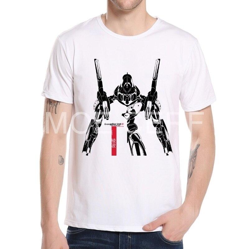 2017 Neon Genesis Evangelion Men Shirt Ballistic Printed T Shirt Fashion O-neck T-shirt White Short Sleeve Tshirt Men M7-2#