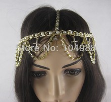 FREE SHIPPING 2014 Style HE18 NEW FASHION PUNK IMITATION PEARLS GOLD RHINESTONES CIRCLET HEAD CHAIN NECKLACE JEWELRY