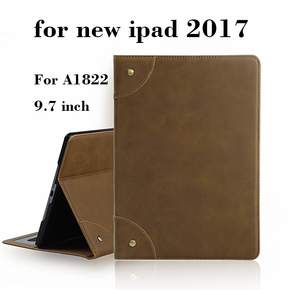 2017 Retro style Case for New iPad 9.7 inch,Retro PU leather Smart Cover Case Magnet wake up sleep For New iPad 2017 model A1822