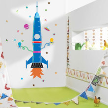 * Spaceship rocket growth Height chart stickers kids room bedroom wall stickers home decor waterproof Chrismas birthday gift(China)