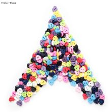 100pcs Mixed Colorful Mini 6mm 2 Hole Resin Buttons Cute Heart Sewing Decor Flatblck Scrapbooking Card Making DIY Home Decor