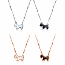 Never Fade Stainless Steel Designer Puppy Pendant Necklace for Women Rose Gold Color Cute Charm Necklaces for Girl Gift(China)