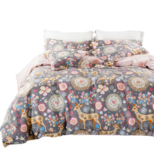 Elk merry christmas design bedding set queen king size (duvet cover+flat bedsheet+pillowcases) 4pcs bed sets Fast shipping
