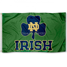 4 Color University of Notre Dame Green Shamrock Team American Outdoor Indoor Football College Flag 3X5 Custom Any Flag(China)
