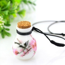 New Design lucky birds perfume Wishing bottle necklace for woman vintage pendant ceramic jewelry Sweater Chains free shipping