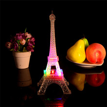 Lovely pet Romantic Eiffel Tower LED Night Light Lamp Desk Table Ornaments Home Room Party Desk Wall Decor Drop Shipping 70728(China)
