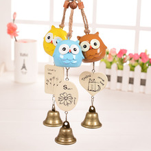 Japanese Style Resin Owl Wind Chimes Bronze Metal Windchime Bell Car Home Decor Campanula Crafts Gift