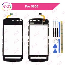 "3.2"" For Nokia 5800 Touch Screen Digitizer Sensor Outer Glass Lens Panel Free plastic 3M glue(China)"